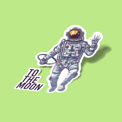 استیکر Bitcoin Astronaut to the Moon