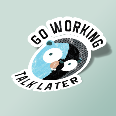 استیکر Golang Gopher Go Working Talk Later