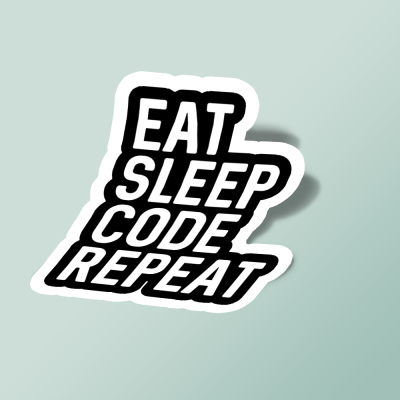 استیکر eat sleep code repeat