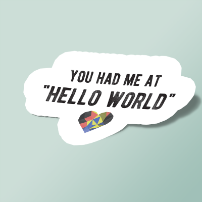استیکر you had me at HELLO WORLD