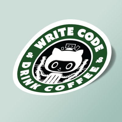 استیکر Write CODE & Drink Coffee