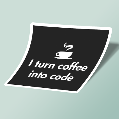 استیکر i turn coffe into code