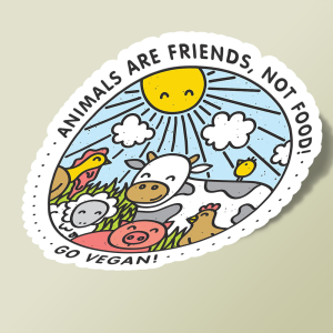 استیکر Animals are friends, not food. Go vegan