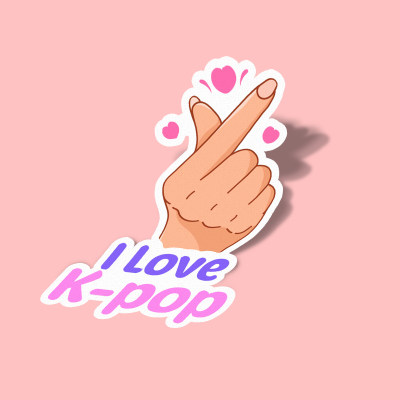استیکر Kpop with finger heart