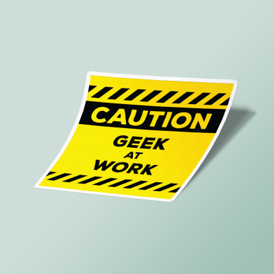 استیکر Caution Geek At Work