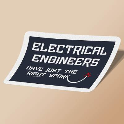 استیکر Electrical Engineering Right Spark White